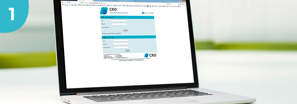 An image of a laptop with company registrations login page displayed